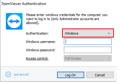 Teamviewer authentication window